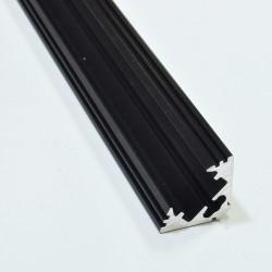 Perfil Angulo aluminio anodizado Negro 45º 19x19mm para tiras LED, barra 2 Metros