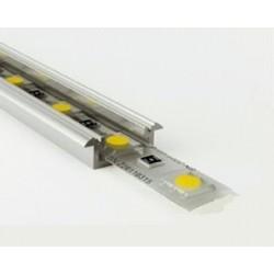 Perfil empotrar aluminio anodizado 21x8mm para tiras LED, barra 2 Metros