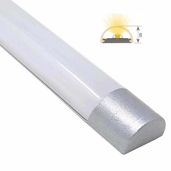 Perfil Aluminio Anodizado Superficie tapas Plata 12x8mm. para tiras LED, barra de 2 Metros -completo- (a 7,00/m)