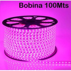 TIira LED 230V ROSA, 60L/mt.  SMD 5050 IP65, Bobina 100mts.