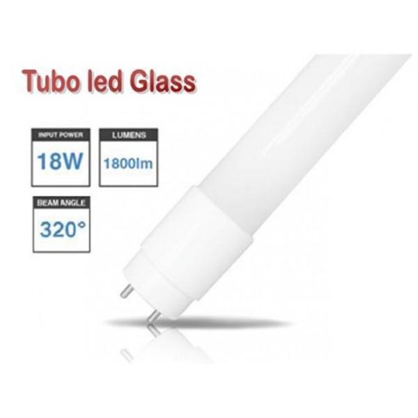 Tubo LED T8 1200mm Cristal 18W Blanco Frío, conexión 1 lado