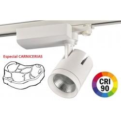 Foco Carril Trifásico LED COB MD6 40W Citizen, CRI>90 Blanco, Especial Carnicerias