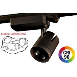 Foco Carril Trifásico LED COB MD6 40W Citizen, CRI>90 Negro, Especial Carnicerias