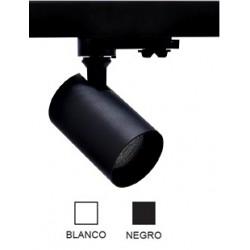 Foco Negro ó Blanco Carril LED trifasico, Lámpara GU10
